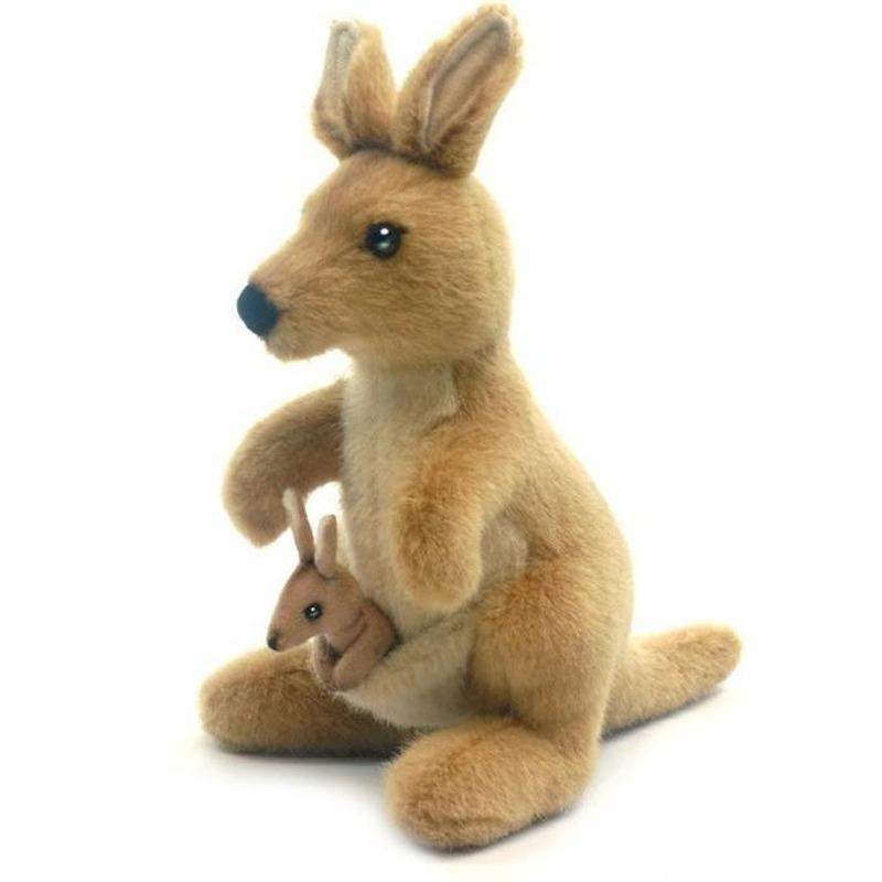 Pluche kangoeroe knuffel met baby 20 cm