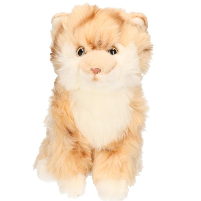 Pluche knuffel beige Tabby kat 27 cm