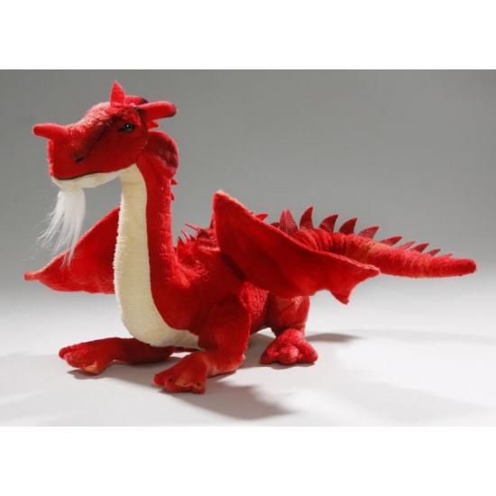 Pluche knuffel draak rood 30 cm