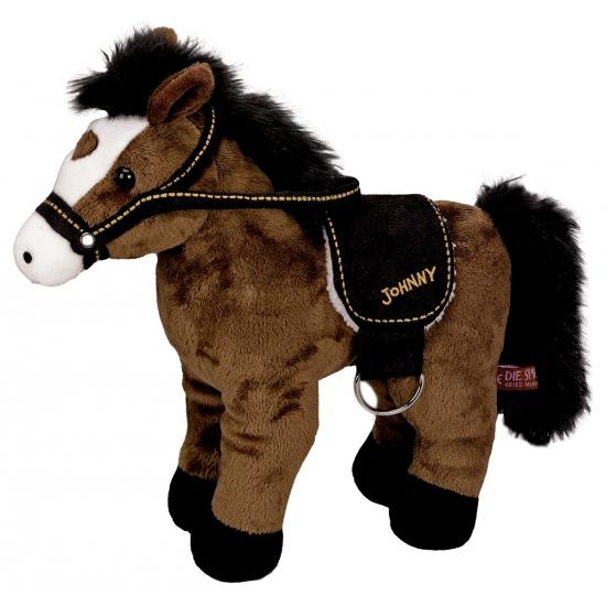 Pluche paarden knuffel donkerbruin 30 cm