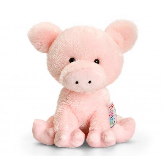 Pluche roze knuffel varken 14 cm
