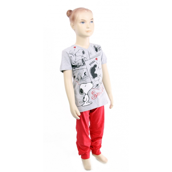 Pyjama Snoopy rood met grijs