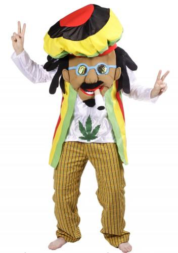 Rastafari kostuum voor volwassenen. cartoon rastafari kostuum met een extra groot hoofd. het zwarte gedeelte ...