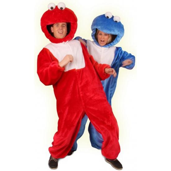 Rood pluche monster kostuum. rood monster kostuum bestaande uit een jumpsuit en een pluche hoofd. maat: 54   ...