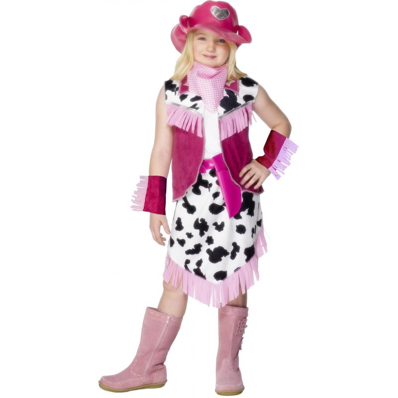 Cowgirl kostuum voor meiden. roze cowgirl kostuum bestaande uit het jasje, de rok, de hoed, holster, de ...