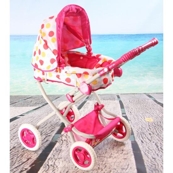 Roze poppen wandelwagen met stippen