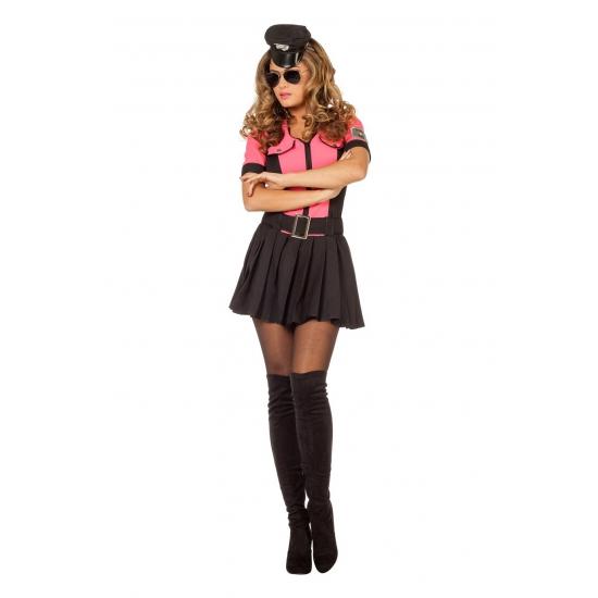 Roze sexy politie kostuum voor dames
