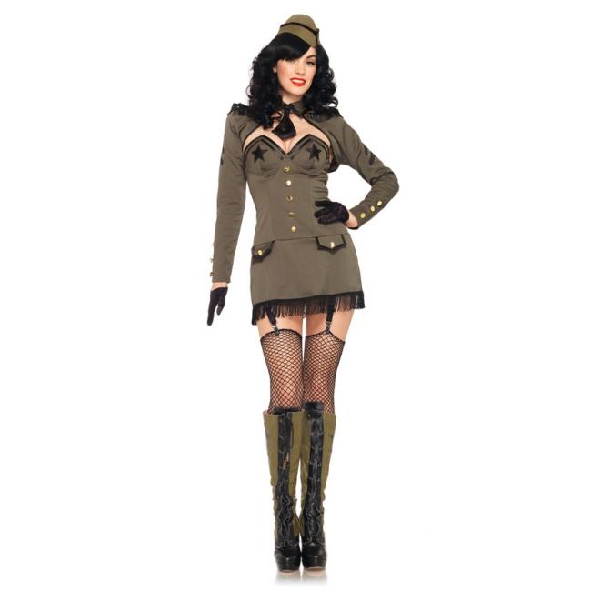 Sexy army girl kostuum voor dames. luxe pin up leger kostuum voor dames, bestaande uit een legergroen jurkje ...