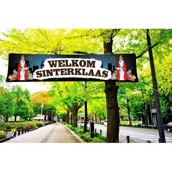 Sinterklaas PVC spandoek 200 x 50 cm