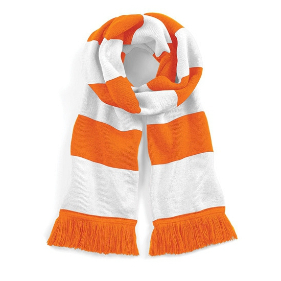 Sjaal met brede streep oranje/wit