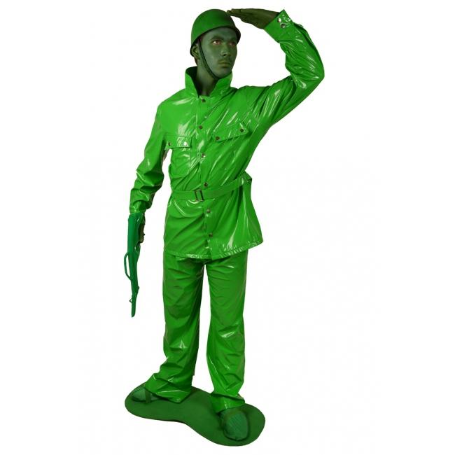Speelgoed soldaat kostuum. compleet 7 delig morphsuit kostuum van een groen speelgoed soldaatje. het groene ...