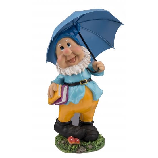 Tuinkabouter met blauwe paraplu