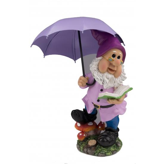 Tuinkabouter met paarse paraplu