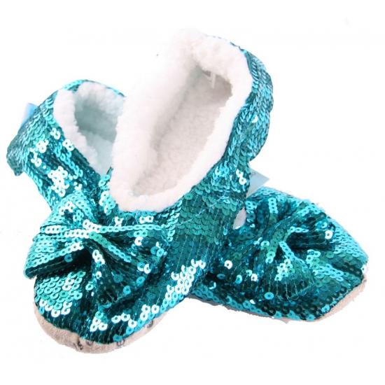 Turquoise bling pantoffels voor dames
