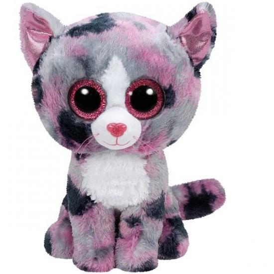 Ty Beanie knuffel roze gevlekte kat 15 cm