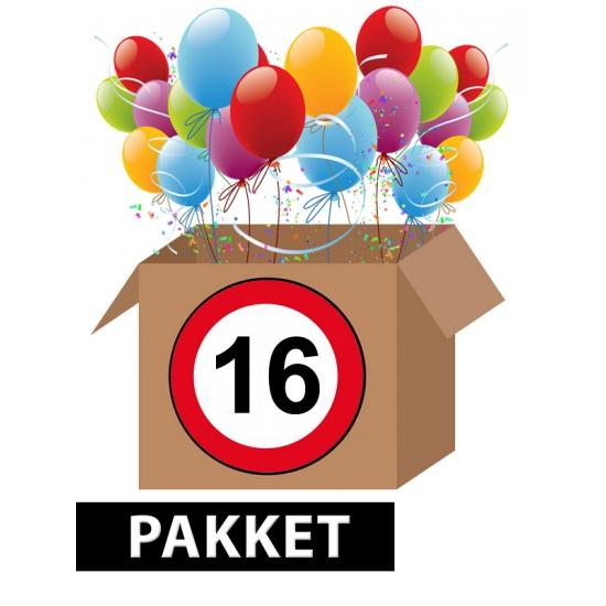 Verkeersbord 16 jaar feestartikelen pakket