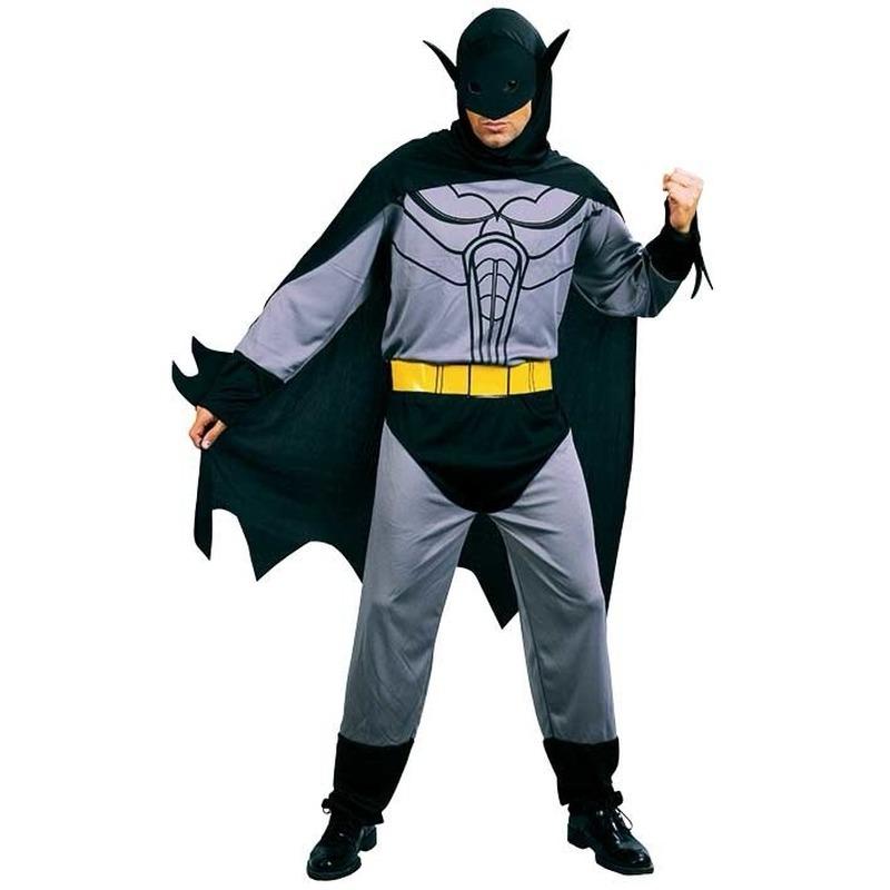 Vleermuis kostuum voor heren. dit kostuum bestaat uit een jumpsuit, riem, cape met capuchon en masker. ...