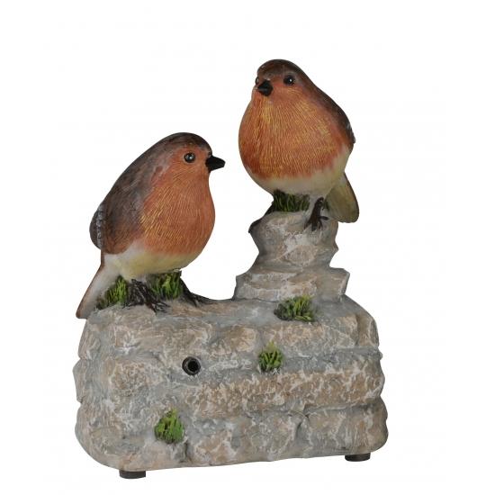 Vogel tuinbeeldje roodborstjes met geluid 11 cm