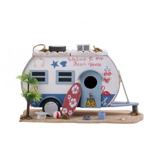Vogelhuis caravan met surfplank 28 cm