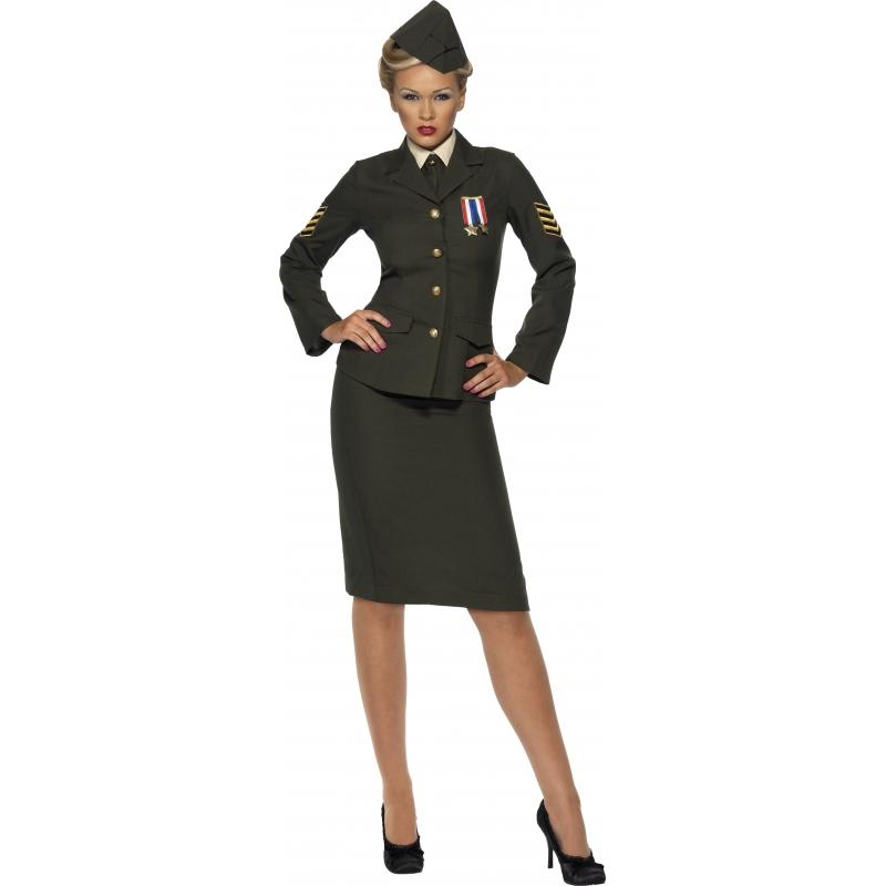 Vrouwlijke leger officier kostuum. compleet vrouwlijke officier kostuum, in de stijl van het leger tijdens de ...