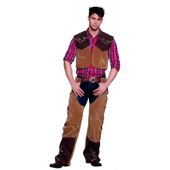 Western kostuum cowboy. kleur: bruin. dit kostuum bestaat uit het vest en de broek. leuk kostuum voor een ...