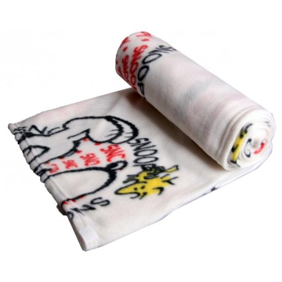 Wit fleece plaid Snoopy 120 x 120 cm