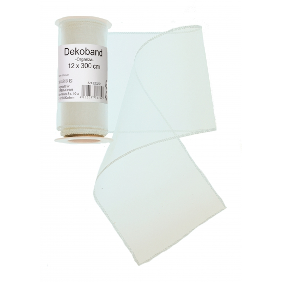 Witte organza stof op rol 12 x 300 cm