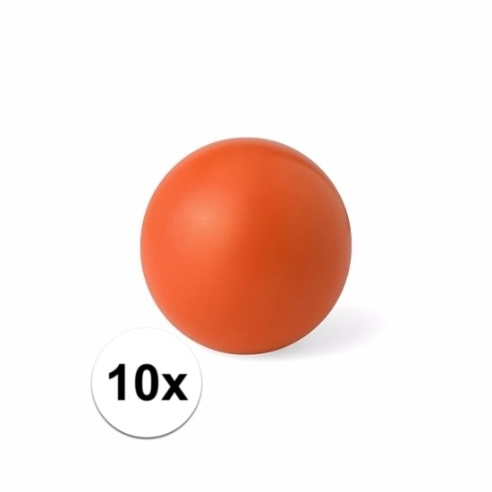 10 oranje anti stressballetjes 6 cm