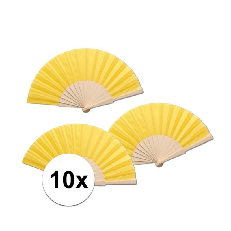 10 stuks zomerse Spaanse waaiers geel