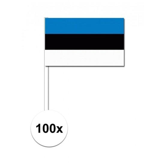 100x Estlandse zwaaivlaggetjes 12 x 24 cm