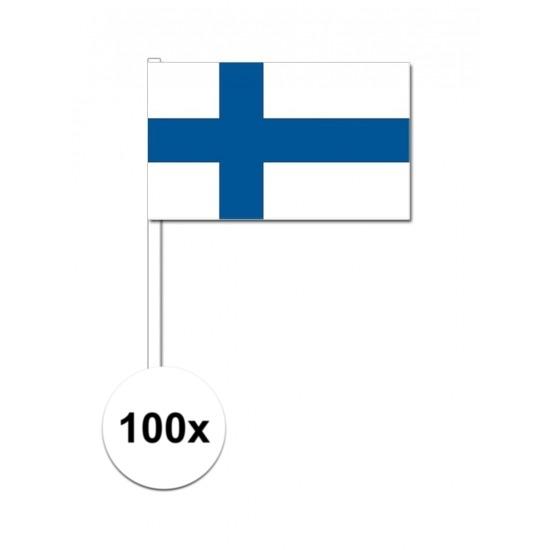 100x Finse zwaaivlaggetjes 12 x 24 cm