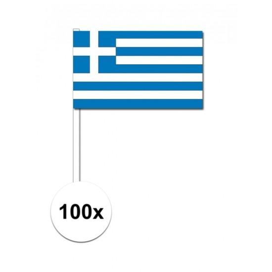 100x Griekse zwaaivlaggetjes 12 x 24 cm