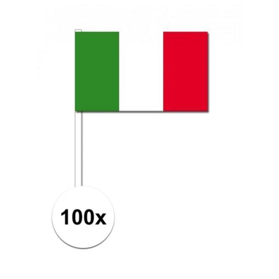 100x Italiaanse zwaaivlaggetjes 12 x 24 cm