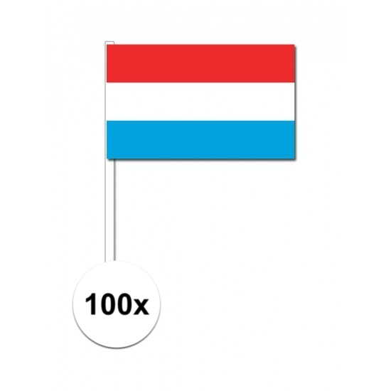 100x Luxemburgse zwaaivlaggetjes 12 x 24 cm