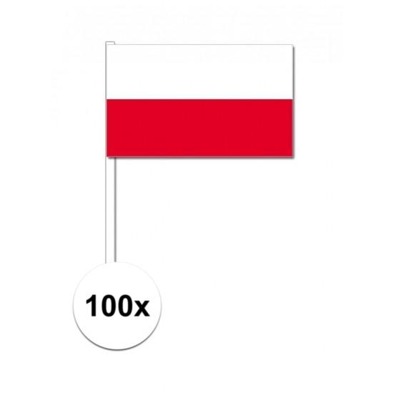 100x Poolse zwaaivlaggetjes 12 x 24 cm
