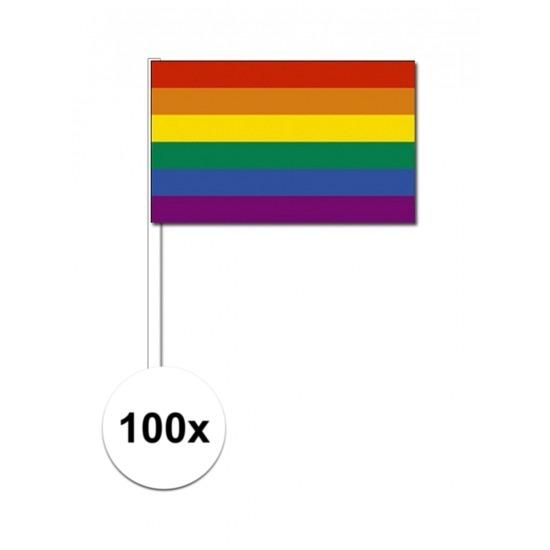 100x regenboog zwaaivlaggetjes 12 x 24 cm