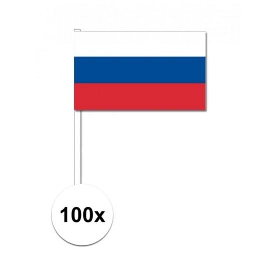 100x Russische zwaaivlaggetjes 12 x 24 cm
