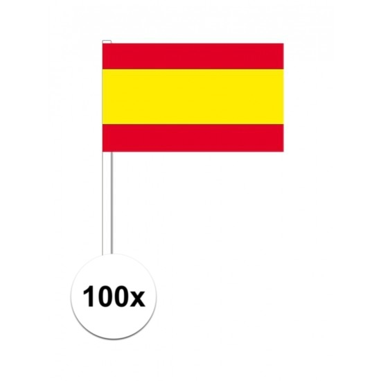 100x Spaanse zwaaivlaggetjes 12 x 24 cm