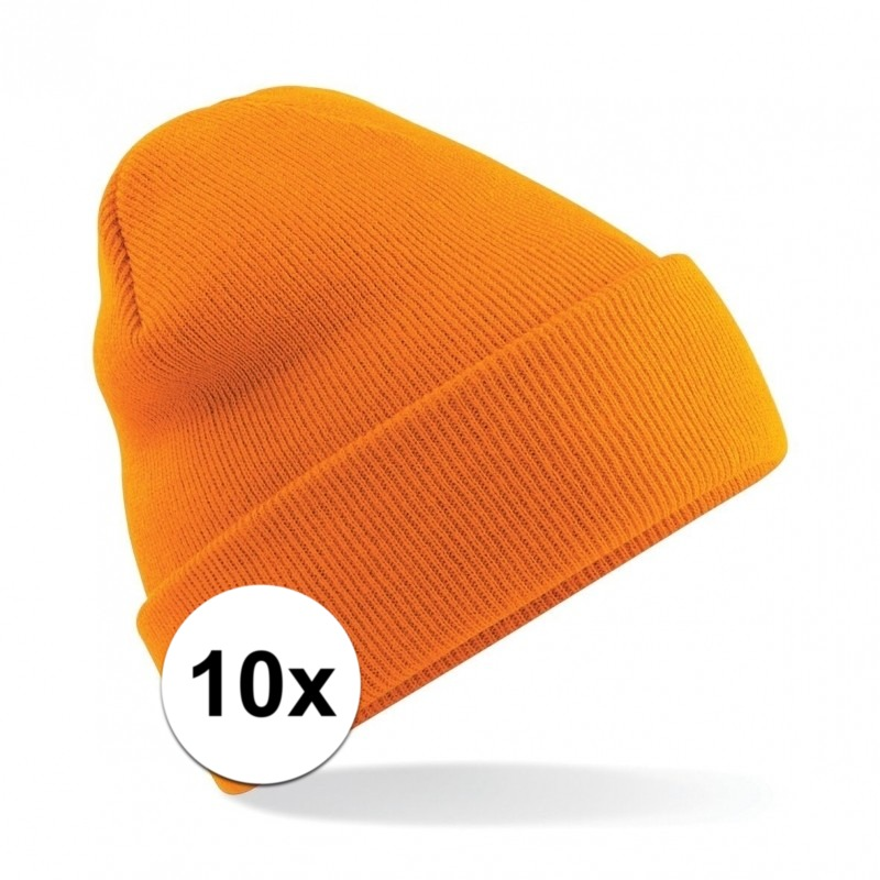 10x Basic winter muts oranje