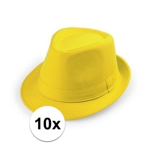 10x Geel trilby verkleed hoedjes voor volwassenen