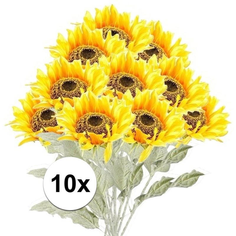 10x Gele zonnebloem kunstbloemen 82 cm