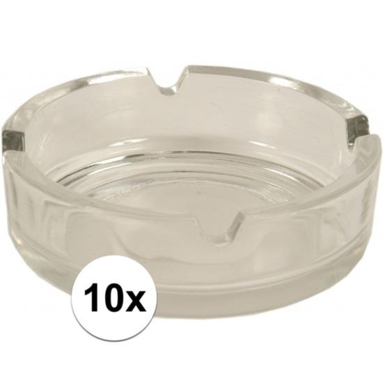 10x Glazen asbakken 10.5 cm
