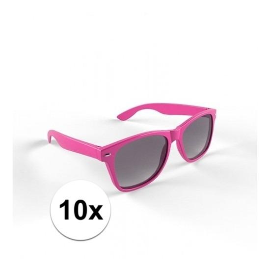 10x Hippe roze zonnebrillen voor volwassenen