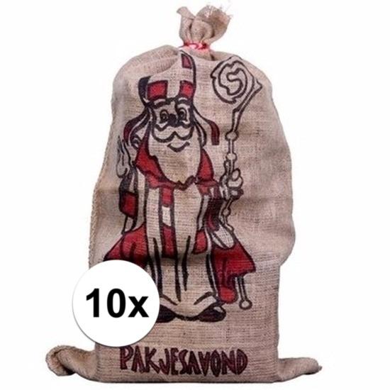 10x Jute zakken voor Sinterklaas 60 x 102 cm