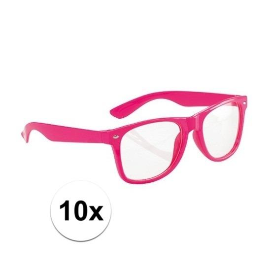 10x Neon brillen roze voor volwassenen