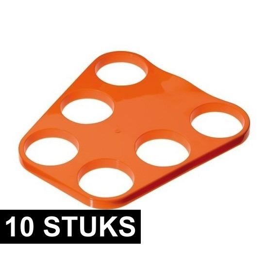 10x Oranje plastic bier trays voor 6 glazen