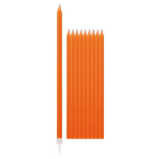 10x Oranje smalle taartkaarsjes 0,5 x 15,5 cm