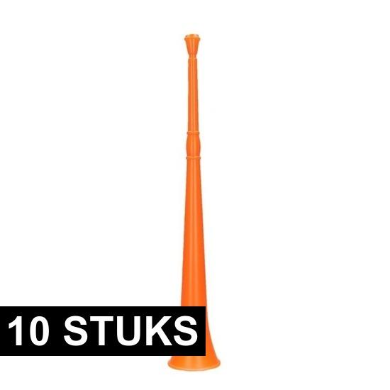 10x Oranje vuvuzela grote blaastoeters 48 cm