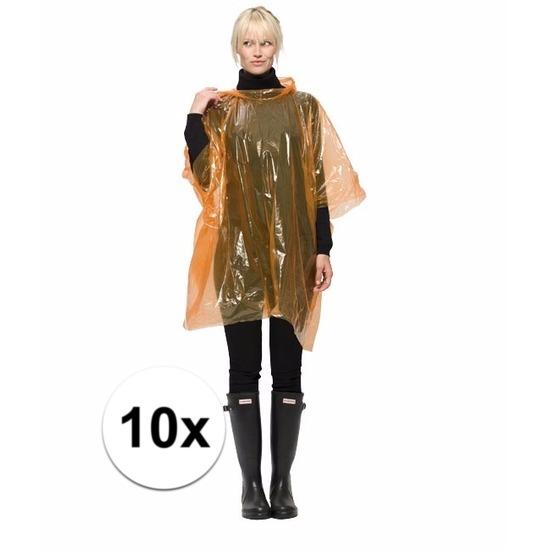 10x oranje wegwerp regenponcho