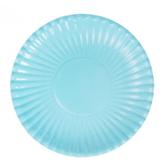 10x Platte kartonnen bordjes lichtblauw 23 cm